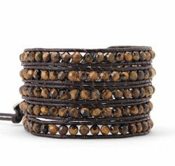 Long Leather Tiger Eye Wrap Bracelet