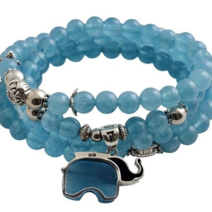 Aquamarine Elephant Beaded Bracelet