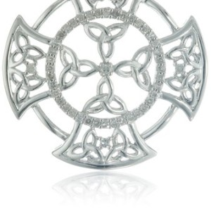 Diamond Sterling Silver Celtic Necklace
