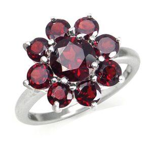 Garnet Silver Cluster Ring